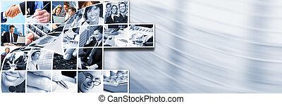 affärsfolk, lag, collage.