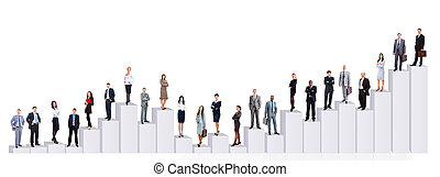 affärsfolk, lag, och, diagram., isolerat, över, vit fond