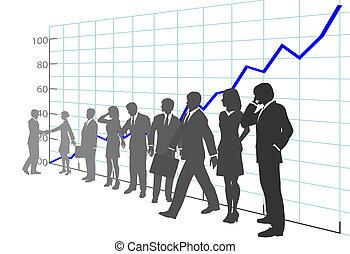 affärsfolk, lag, profit, tillväxt tablå