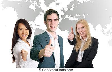 affärsfolk, le, och, glädjande