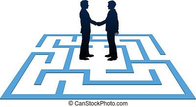 affärsfolk, möte, finna, labyrint, lösning