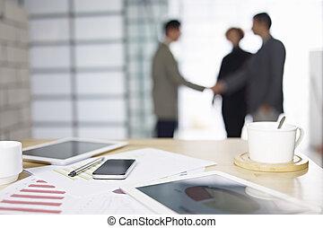affärsfolk, möte, in, kontor