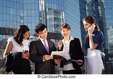 affärsfolk, möte