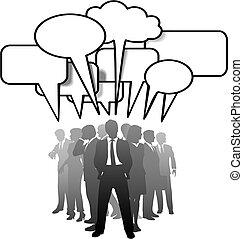 affärsfolk, meddela, talande, anförande, bubblar