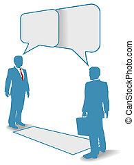 affärsfolk, meddelande tillslut, möta, prata