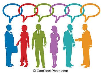 affärsfolk, media, anförande, social, bubbla, prata