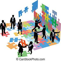 affärsfolk, start, problem, lösa, bygga