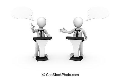 affärsfolk, tribune, liten, talande, 3