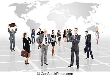affärsfolk, -, ung, attraktiv, lag, elit