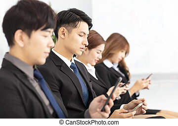 affärsfolk, ung, ringa, användande, smart