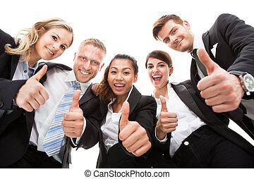 affärsfolk, uppe, tummar, stående, gesturing