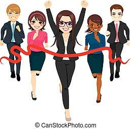 affärsidé, grupp, framgång, lopp