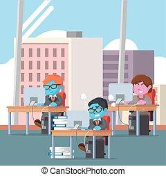affärskontor, arbetande folken