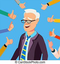 affärskontor, visa, uppe, illustration, gesture., affärsman, tummar, vector., worker., professionell, godkännande, respect., publik