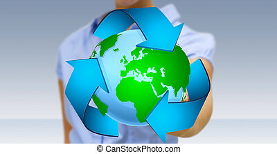 affärskvinna, återvinning, begrepp