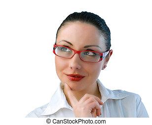 affärskvinna, ögon, grön, ung, attraktiv