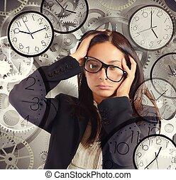 affärskvinna, överbelastning, möten
