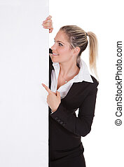 affärskvinna, affisch, holdingen