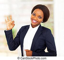 affärskvinna, amerikan, afrikansk