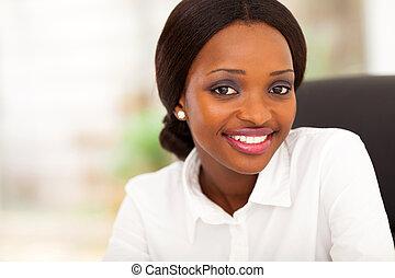 affärskvinna, amerikan, ung, afrikansk