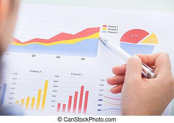 affärskvinna, analysering, graf