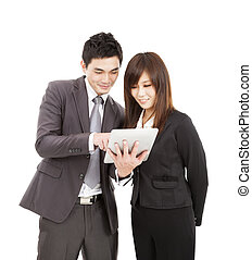 affärskvinna, användande, affärsman, skrivblock persondator