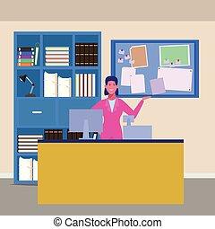 affärskvinna, arbeta ämbete