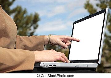 affärskvinna, arbete, utanför, (white, screen)