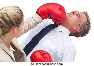affärskvinna, boxning, henne, bolag arbetare