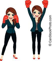 affärskvinna, boxning, kämpe