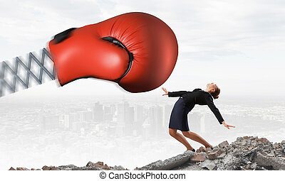 affärskvinna, boxning, stridande, handske