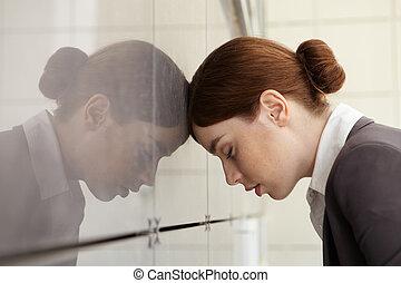 affärskvinna, emotionell, stress., fatigue.