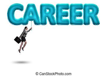 affärskvinna, flygning, in, karriär, begrepp