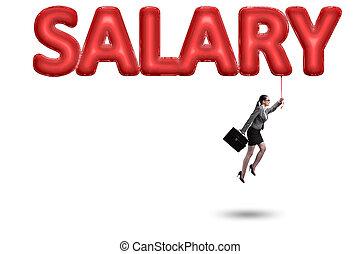 affärskvinna, flygning, in, lön, begrepp