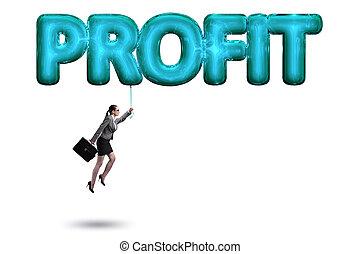 affärskvinna, flygning, in, profit, begrepp