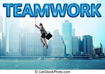 affärskvinna, flygning, in, teamwork, begrepp