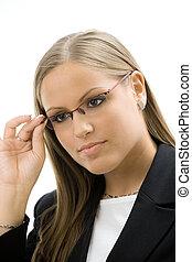 affärskvinna, glasögon