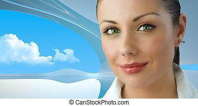 affärskvinna, green-eyed, ung, attraktiv