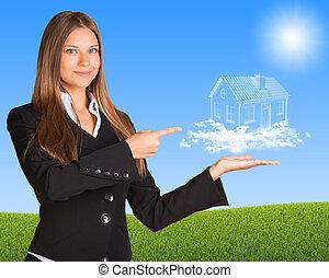 affärskvinna, hålla, skyn, hus