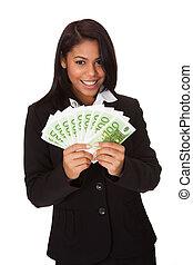 affärskvinna, hand, anteckna, holdingen, euro, lycklig