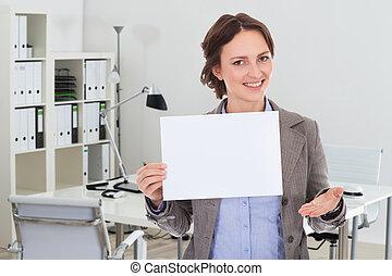 affärskvinna, holdingen, affisch