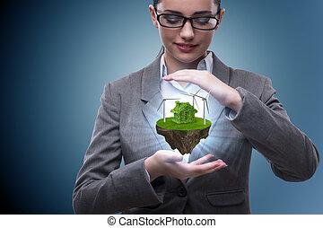 affärskvinna, holdingen, flygning, ö, in, eco, begrepp