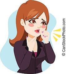 affärskvinna, hosta