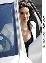 affärskvinna, i bilen