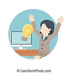 affärskvinna, idé, lycklig