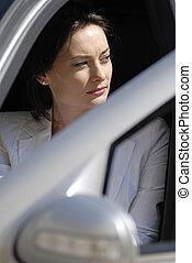 affärskvinna, in, den, premie, bil