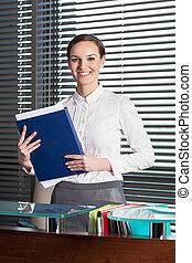affärskvinna, in, kontor
