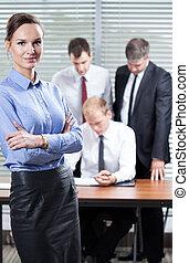 affärskvinna, in, kontoren