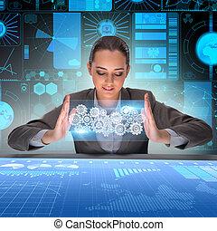 affärskvinna, in, teamwork, begrepp
