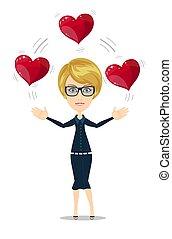 affärskvinna, jonglera, hjärtan